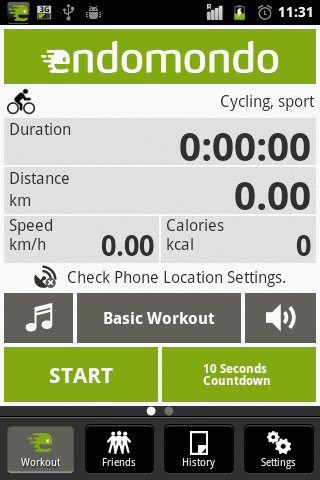 endomondo fitness - physical training app
