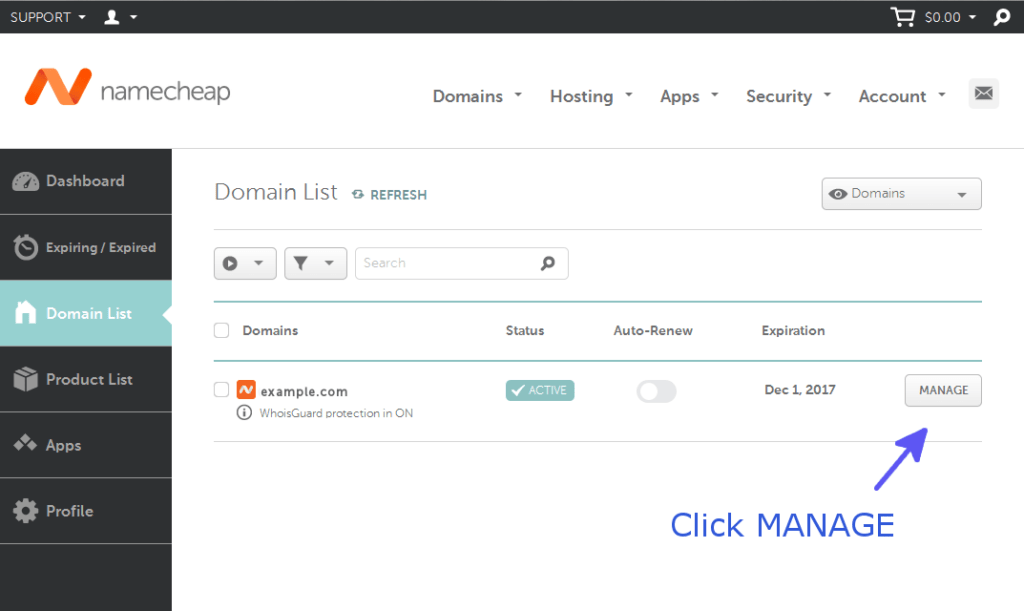 Manage Domain - Namecheap