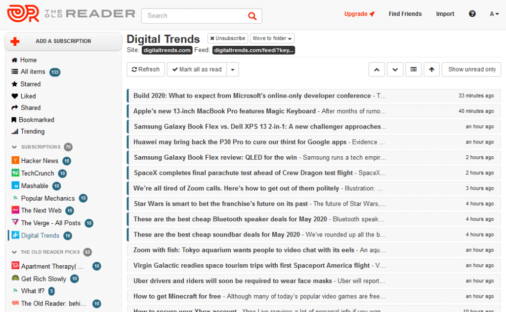 Best RSS Readers - The Old Reader
